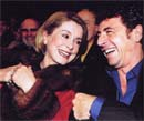 "Catherine Deneuve with Patrick Bruel  at the premiere of the play ""Oscar et la dame en rose"""