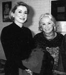 "Catherine Deneuve with Danielle Darrieux at the premiere of the play ""Oscar et la dame en rose"""